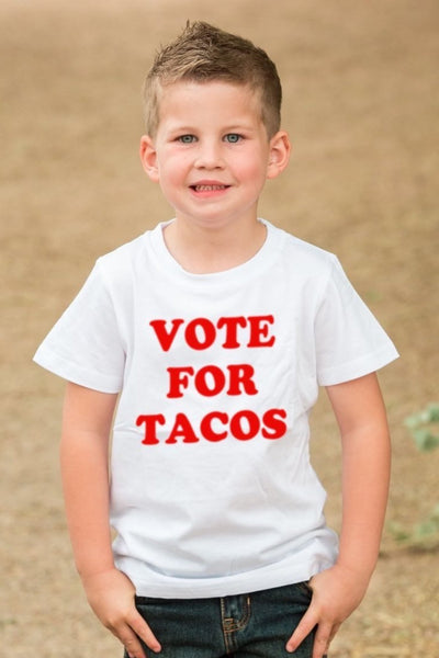 Vote For Tacos White Crew Neck Tee