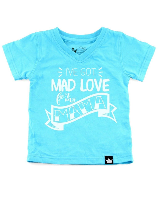 Mad Love For My Mama Turquoise V-Neck Tee