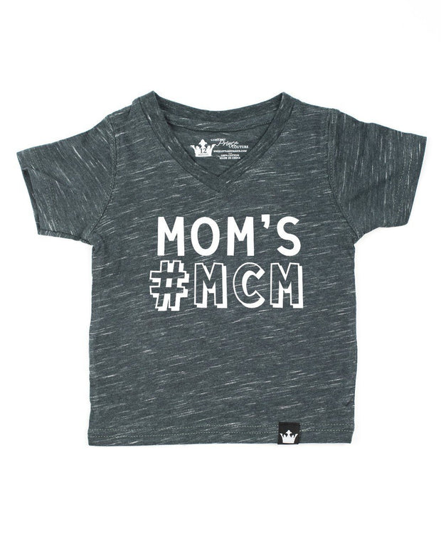 Mom's #MCM Charcoal Slub Knit V-Neck Tee