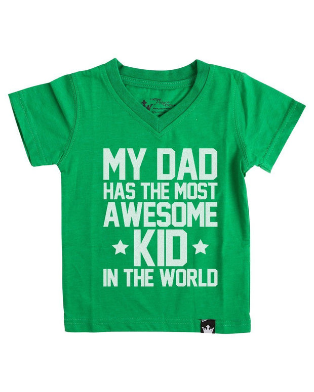Most Awesome Kid Green V-Neck Tee