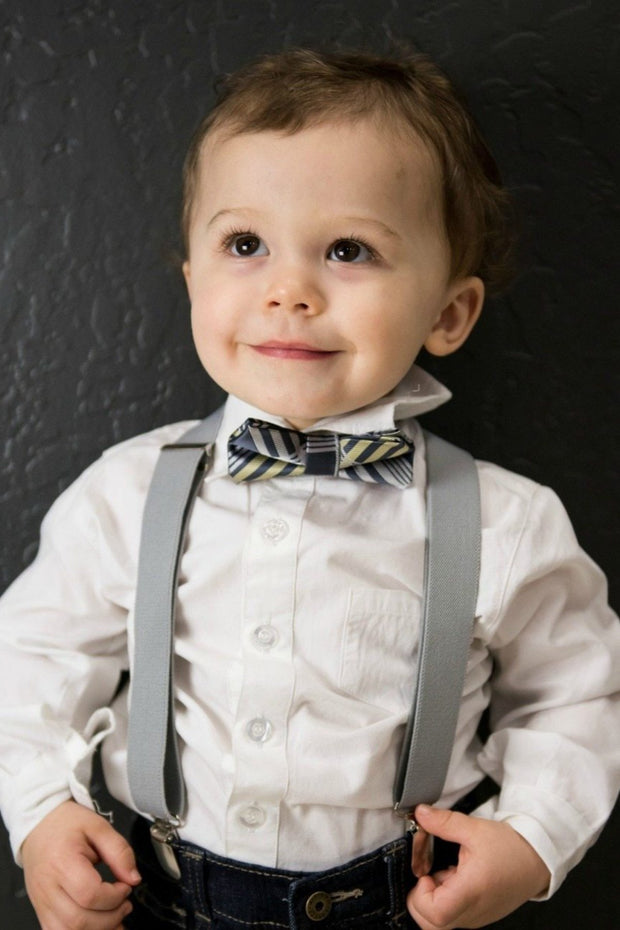 Graphite and Lemon Plaid Bow Tie (Boys and Men)