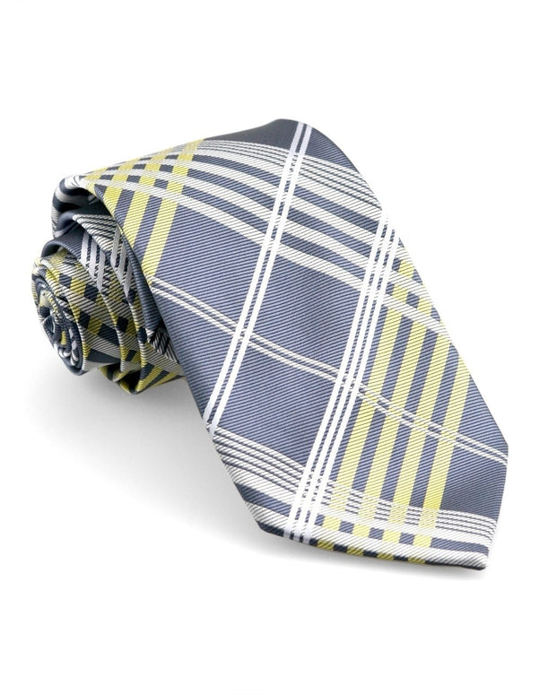 Graphite and Lemon Plaid Standard Necktie
