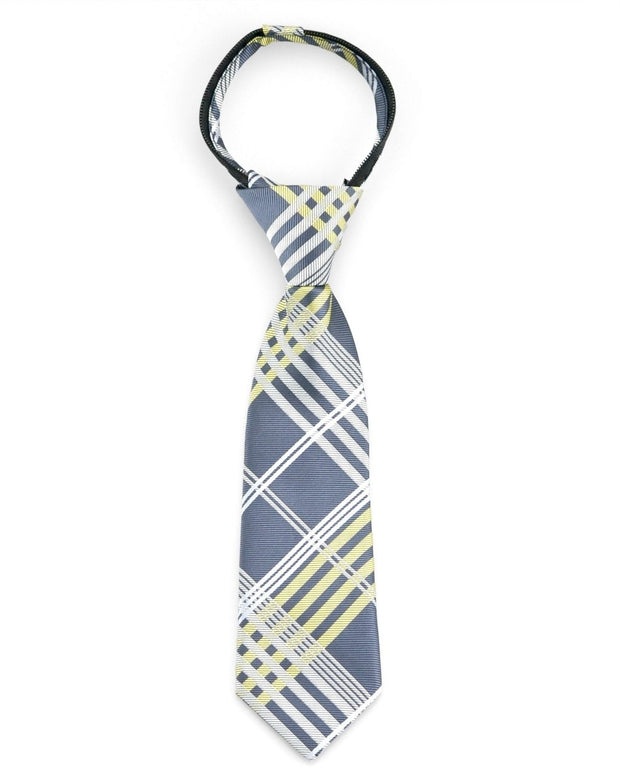 Graphite and Lemon Plaid Zipper Tie