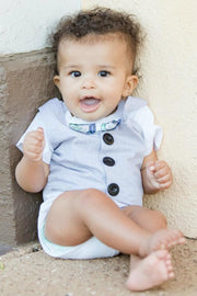 Gray Chambray Faux Vest Bodysuit with Interchangeable Bow Ties