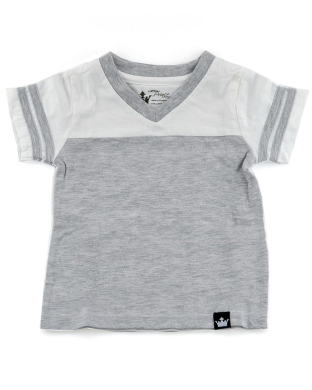 Gray and White Jersey T-Shirt