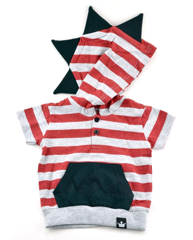 Gray & Red Stripe Short Sleeve Dino Hoodie