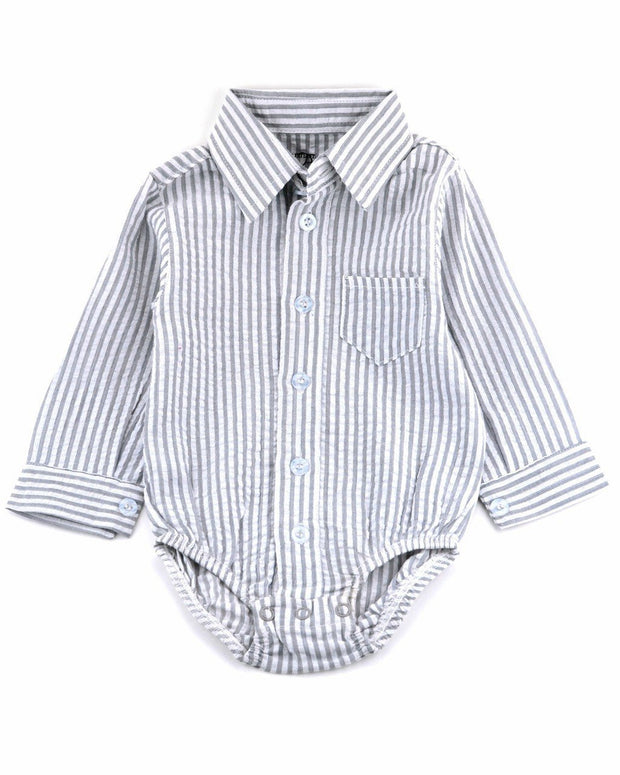 Gray Seersucker Dress Shirt Bodysuit