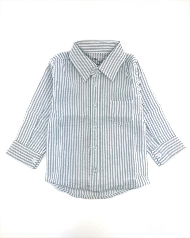 Gray Seersucker Dress Shirt