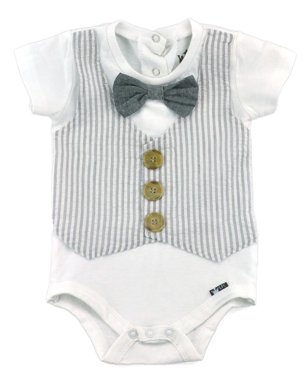 Gray Seersucker Faux Vest Bodysuit with Interchangeable Bow Ties
