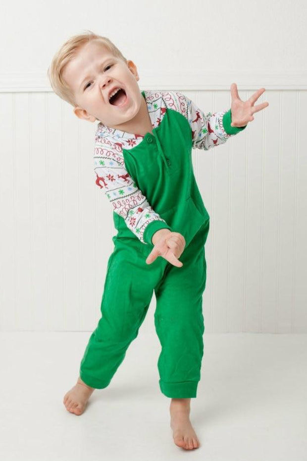 Green Nordic Hooded Raglan Romper