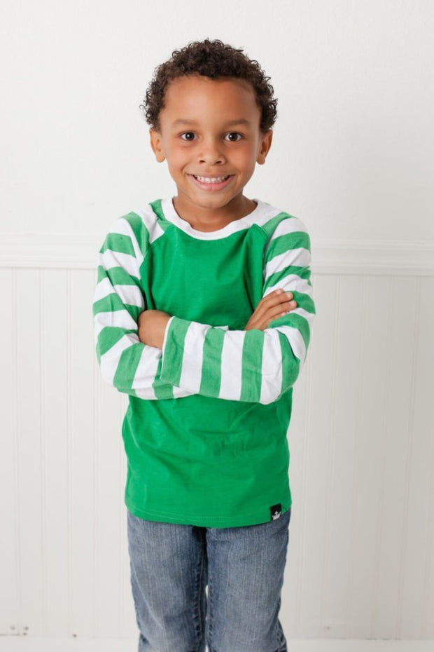 Green & White Stripe Long Sleeve Raglan Shirt
