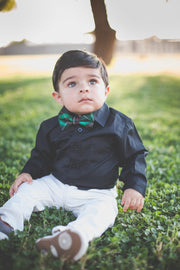 Holly and Black Plaid Bow Tie (Boys and Men)