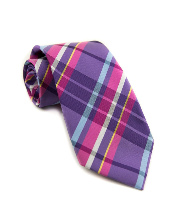 Magenta and Plum Plaid Standard Necktie (Adult and Youth)