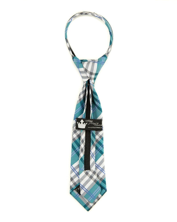 Cerulean and Steel Plaid Zipper Tie (Boys and Men)