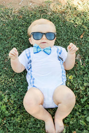 Baby Blue Gingham Faux Suspender Bodysuit with Interchangeable Bow Ties
