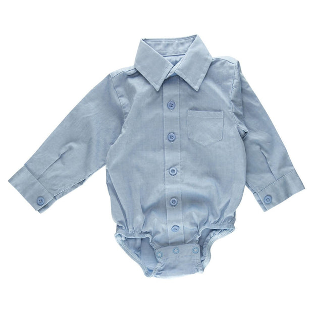 Light Blue Long Sleeve Dress Shirt Bodysuit