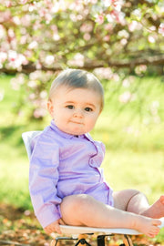 Lavender Long Sleeve Dress Shirt Bodysuit