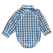 Blue Plaid Long Sleeve Dress Shirt Bodysuit