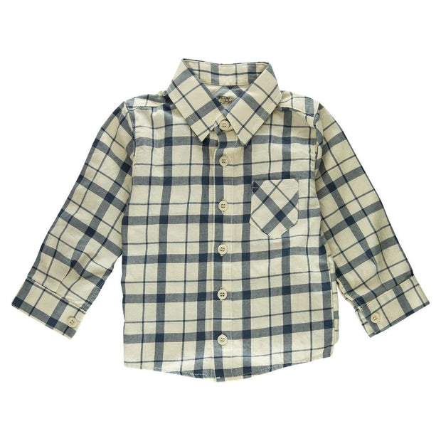 Cream Plaid Long Sleeve Dress Shirt
