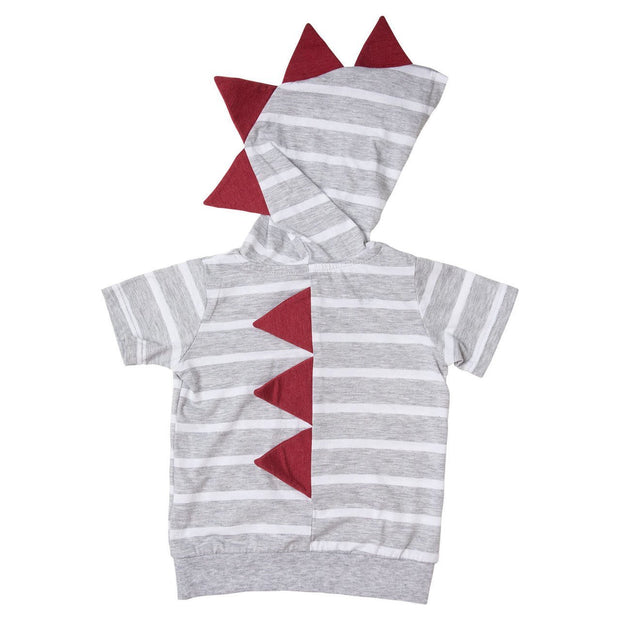 Thick Gray Stripe Short Sleeve Dino Hoodie Shirt