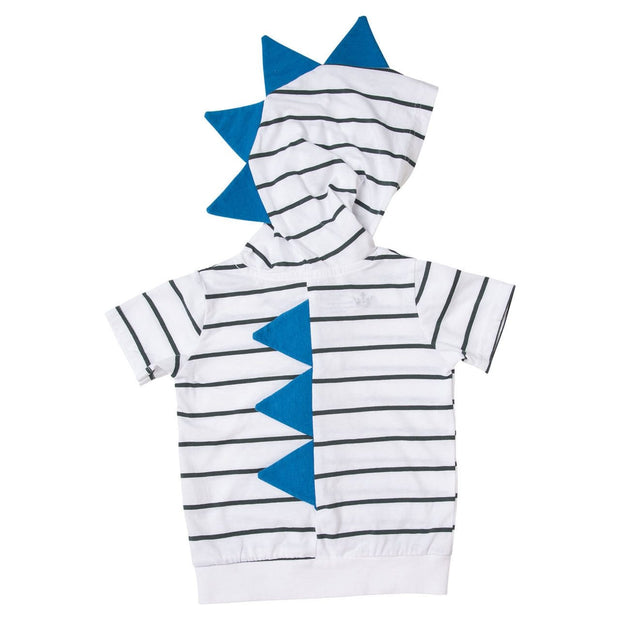 White & Charcoal Stripe Short Sleeve Dino Hoodie Shirt