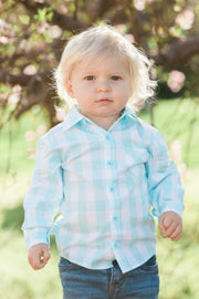 Mint Gingham Long Sleeve Dress Shirt