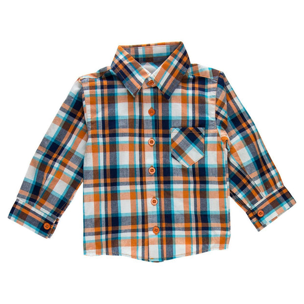 Orange Plaid Long Sleeve Dress Shirt