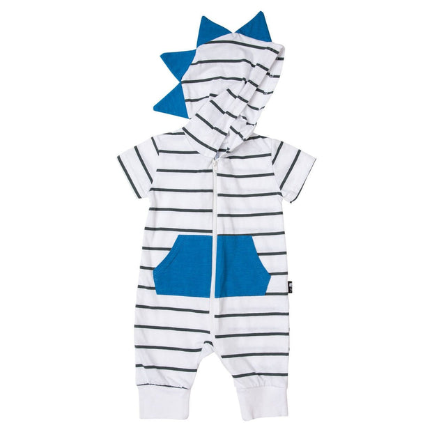 White & Charcoal Stripe Short Sleeve Dino Hoodie Romper