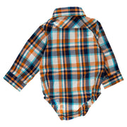 Orange Plaid Long Sleeve Dress Shirt Bodysuit