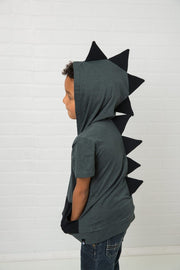 Charcoal & Black Short Sleeve Dino Hoodie Shirt