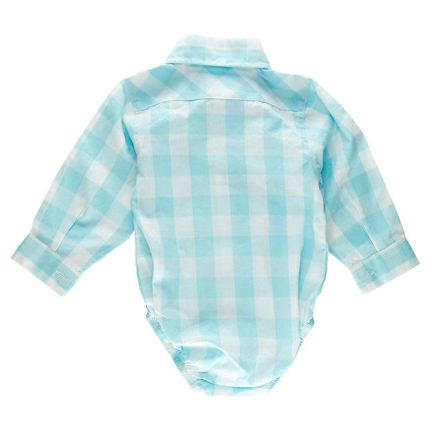 Mint Gingham Long Sleeve Dress Shirt Bodysuit