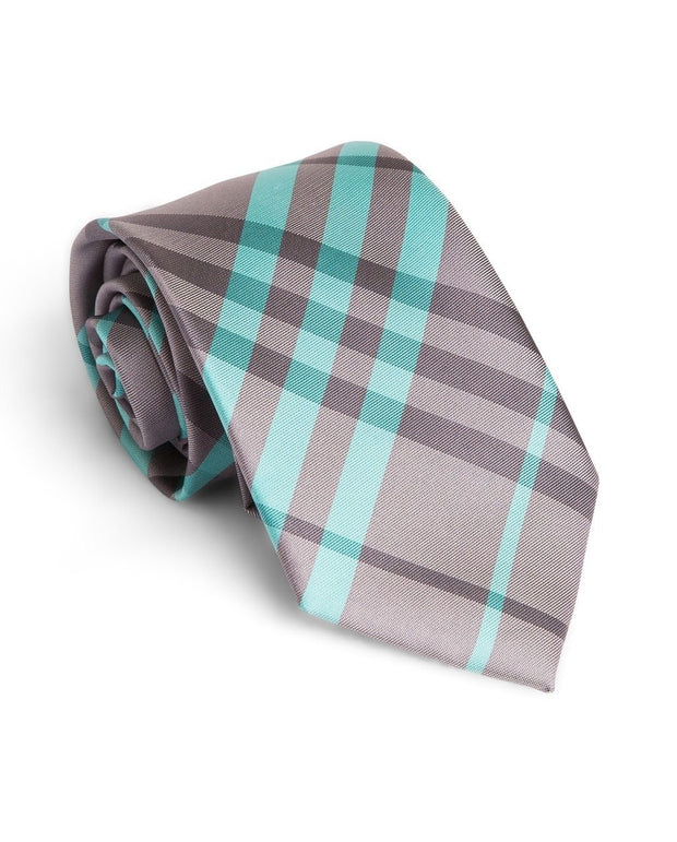 Graphite and Mint Plaid Standard Necktie (Adult and Youth)