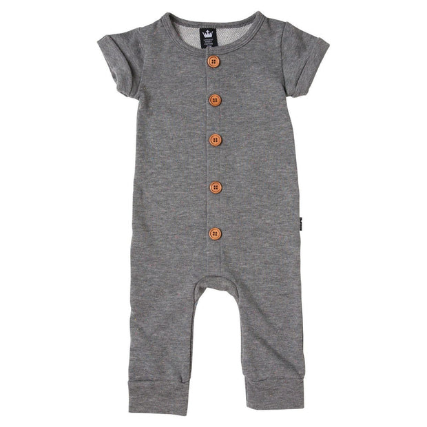 Charcoal French Terry Button Up Romper