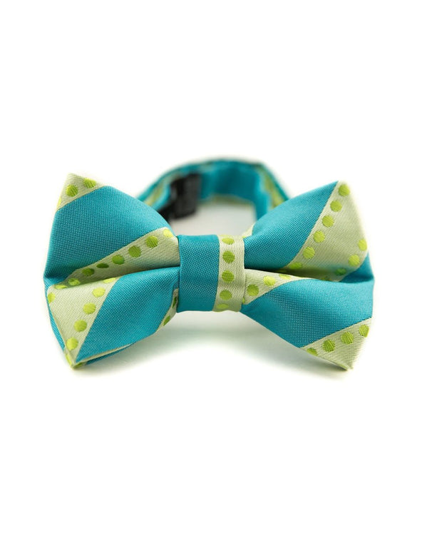 Lime and Turquoise Dots and Stripes Bow Tie (Boys and Men)