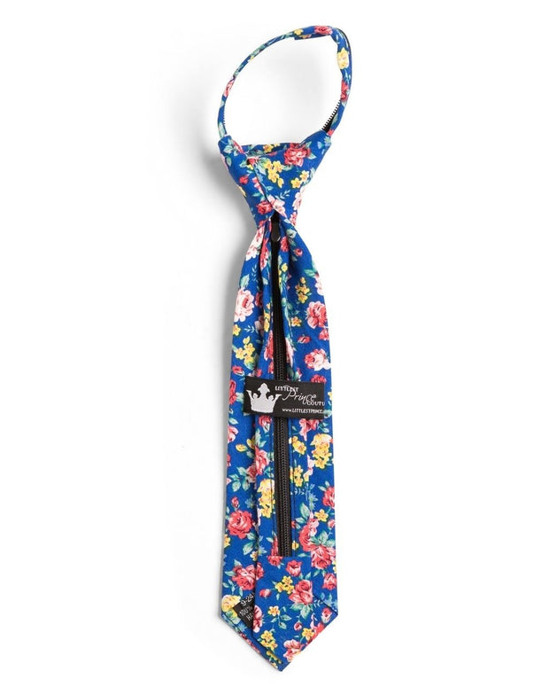 Royal and Rose Floral Zipper Tie (Boys and Men)