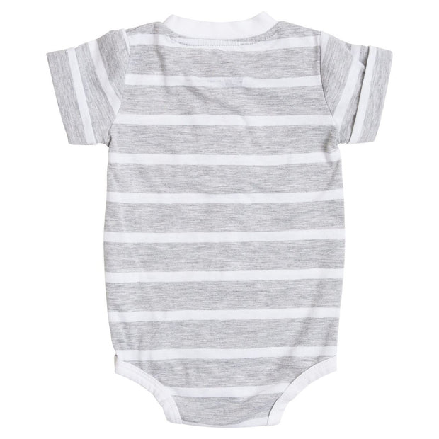 Thick Gray Stripe Short Sleeve Henley Bodysuit