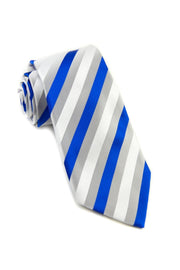 Royal and Silver Stripe Standard Necktie (Adult and Youth)
