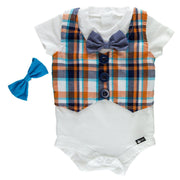 Orange Plaid Faux Vest Bodysuit with Interchangeable Bow Ties