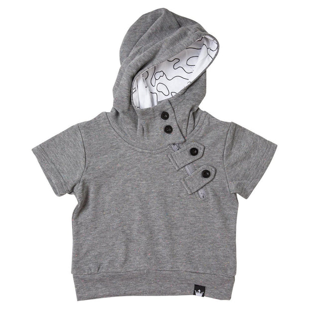 Charcoal French Terry Asymmetrical Zip Up Hoodie