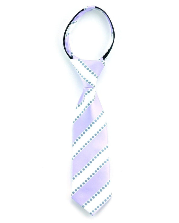 Lavender and White Stripe Zipper Tie