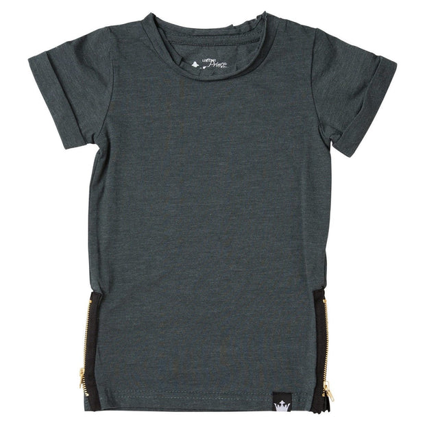 Charcoal Side Zipper Tee