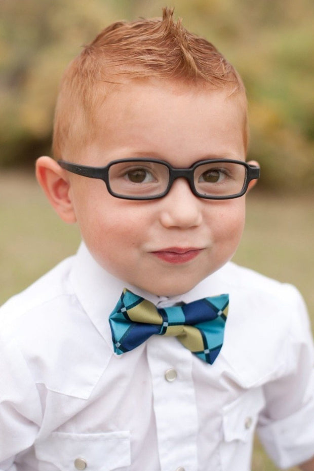Lime and Aqua Squares Bow Tie (Boys and Men)