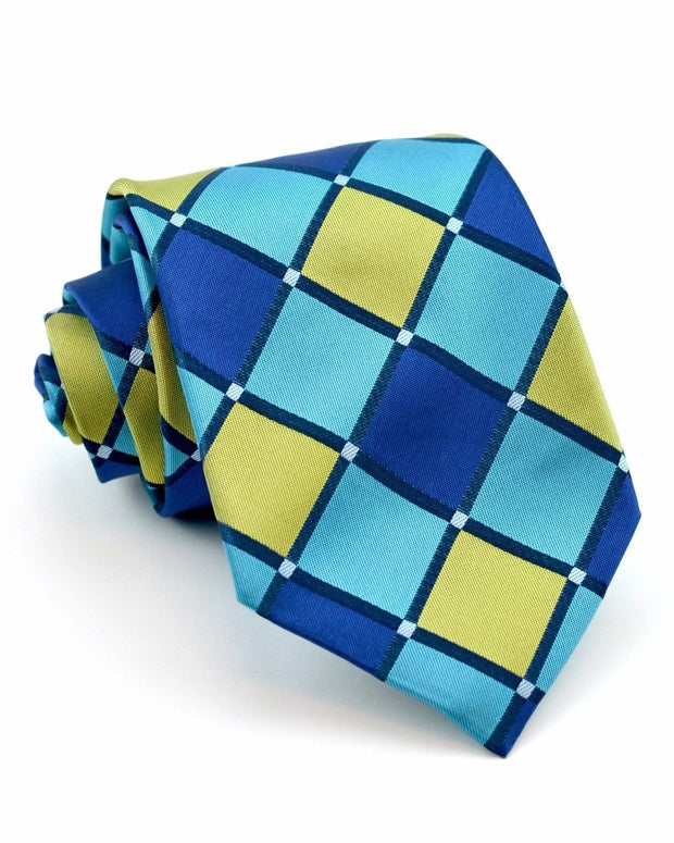 Lime and Aqua Squares Standard Necktie