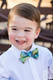 Lime and Navy Plaid Bow Tie (Boys and Men)
