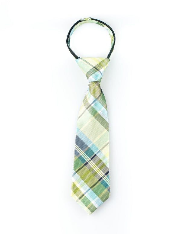 Lime and Navy Plaid Zipper Tie