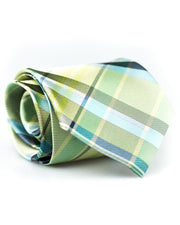 Lime and Navy Plaid Standard Necktie