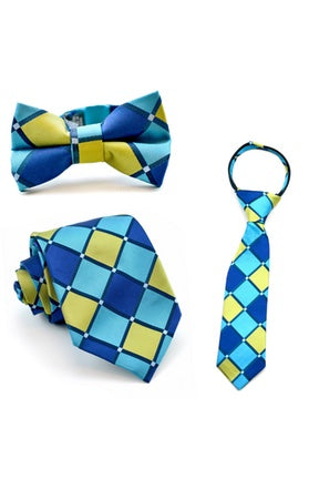 Lime and Aqua Squares Tie