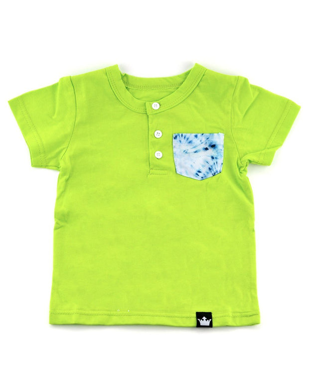Lime & Tie Dye Print Pocket Henley Shirt