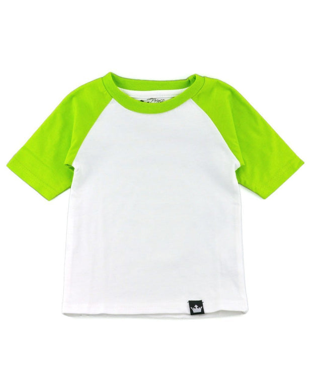 White & Lime Half Sleeve Raglan Shirt