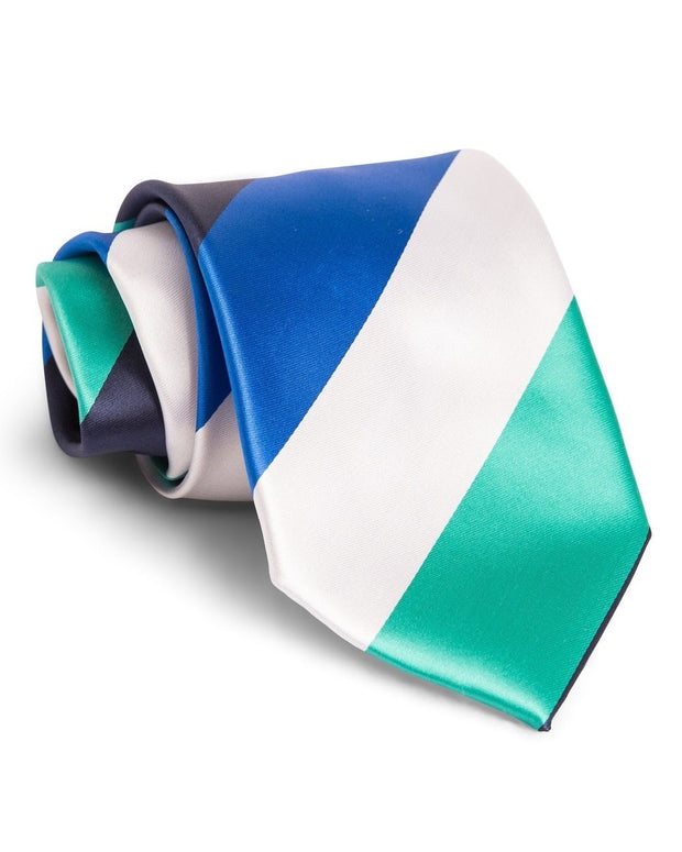 Royal and Emerald Stripe Standard Necktie (Adult and Youth)